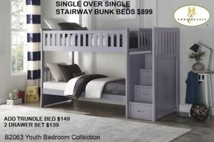 MIKES GOT NEW SINGLE/SINGLE GREY STAIRWAY BUNKS $899