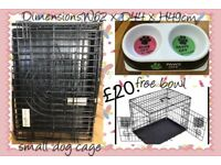 Small dog cage and free bowl