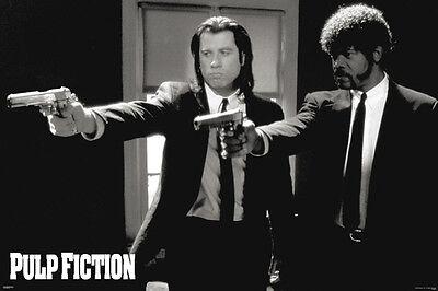 Pulp Fiction Duo Guns John Travolta Samuel L Jackson Movie 36 X 24  Poster New