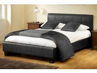 LEATHER STANDARD DOUBLE BED FRAME £69 WITHSEMI ORTHOPAEDIC MATTRESS £119 IN BLACK & BROWN COLOUR