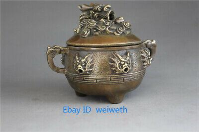 9 Dragons Incense Burner - Chinese Bronze Censer Handwork carved 9 Dragon incense burner w Xuande Mark