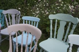 Shabby chic painted mismatch vintage dining chairs