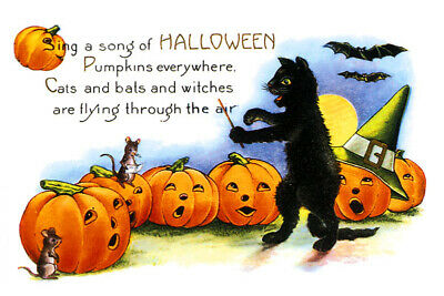 Cat Fridge Toolbox Magnet (3x2) Halloween Song Choir Director Mice Pumpkins Art