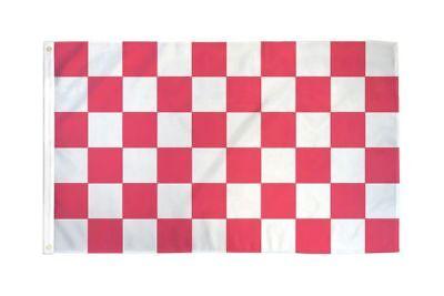 Checkered Pink & White Flag Banner 3' x 5' Polyester