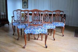 Antique French Dining Chairs with New Upholstery
