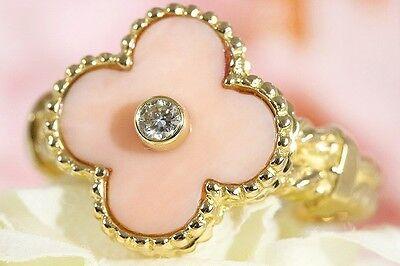 Van Cleef & Arpels 18K YG Vintage Alhambra Diamond Coral Ring sz 53