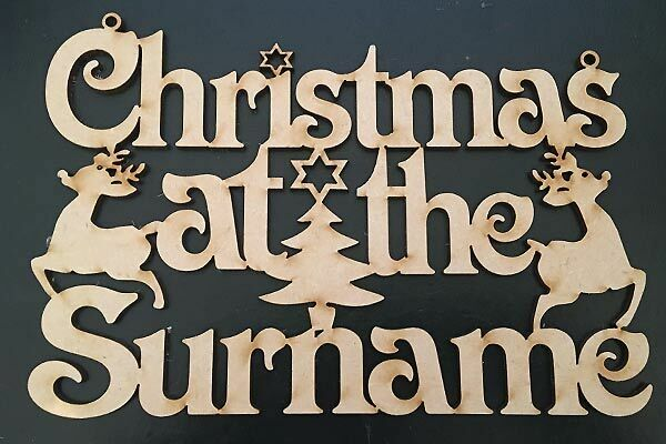 Christmas at the MDF wood Plaque Sign-Personalised Family