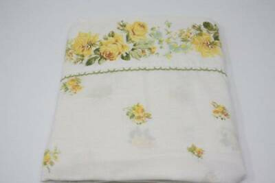 (Vintage Twin Flat Bed Sheet Shabby Cottage Chic Yellow Roses Springmaid B4)