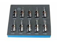BERGEN 10Pc 3/8 Drive 48mm Long S2 Torx Socket Set T10 - T55