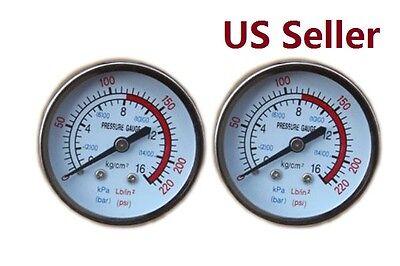 2 Pcs Air Pressure Gauge Max 220 Psi 16 Bar 38 Bsp Thread For Air Compressor