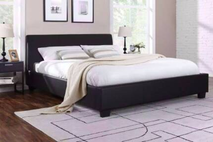 6 x brand new black leather double bed frame + used mattress , ca