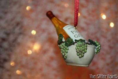 Christmas Ornaments Kurt Adler Pinot Grigio Wine Bottle In Basket With Grapes