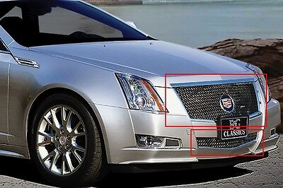 2008-2013 Cadillac CTS 2pc Classics Heavy Mesh Grille BLACK ICE E&G 1007-B104-08