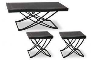 LEATHER TOP COFFEE TABLE and 2 END TABLES SET