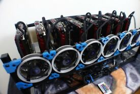 6 x GPU mining rig RX 580 - 8GB - ETH 190mh/s Dual Mining only 1 month old - as new