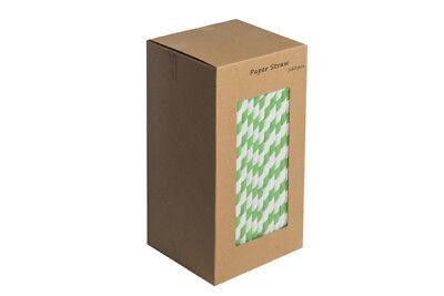 Packung 250 Grün & Weiß Gestreift Papier Strohhalme - 100% Biologisch