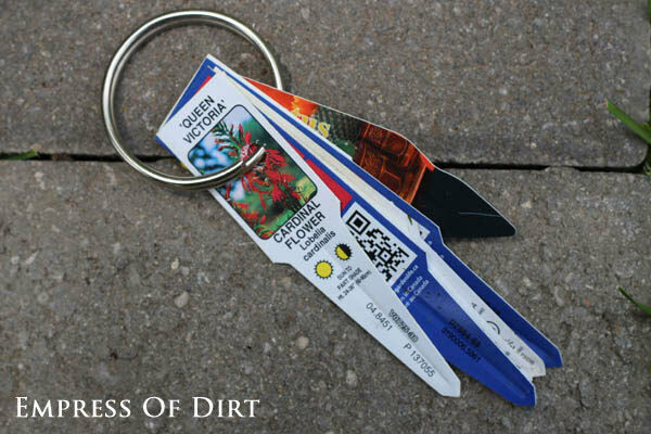 Keep plant tags on a key ring for future reference