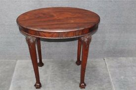 Solid Rosewood side table with carved cabriole legs and claw and ball feet