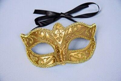 FM - Augenmaske gold beglittert zum Kostüm Karneval Fasching Party (Gold Kostüm Maske)