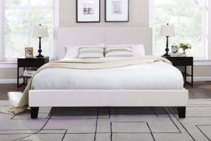6X BRAND new white leather queen size bed frame + used mattress,
