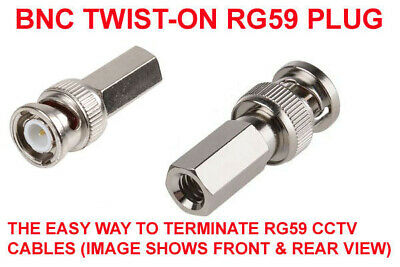10 PACK BNC Twist Screw ON Plug Male Connector 75Ω  for CCTV RG59 Coaxal Cable Bnc-twist