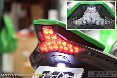 14-16 Kawasaki Z1000 16-18 ZX10R Integrated Turn Signals LED Tail Light CLEAR