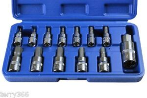 BERGEN 13pc Metric Hex Bit Socket Set, Mixed Drive 1/4