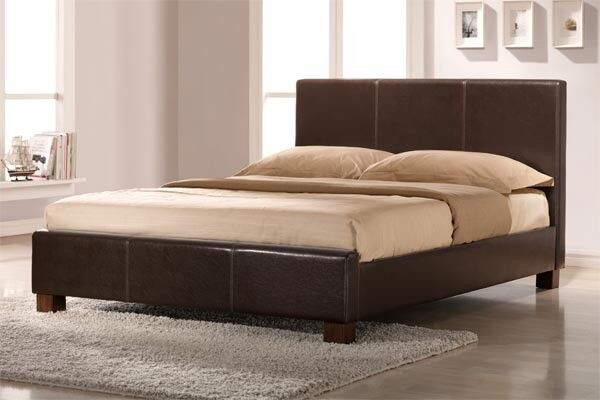 🛑FLAT 40% OFF 🛑🛑NEW KING SIZE DOUBLE LEATHER BED WITH DEEP QUILT ORTHOPAEDIC MATTRESS Black/Brown