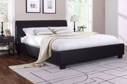 6 x brand new leather Black queen size bed frame + used mattress