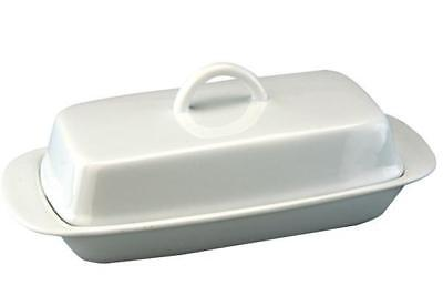 Apollo White Ceramic Butter Serving Storage Dish with Lid