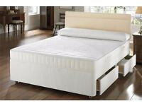 "Brand New Double, Small Double or Kingsize Divan Bed W/ Dual-Sided 9"" Semi Orthopaedic Mattress"