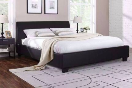 Brand new black leather queen size bed frame + used mattress, can