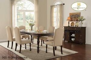 Solidwood Dining Set with 6 Fabric Chairs (MA254)