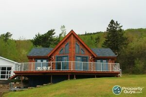 Custom Lakefront Log Home in a protected cove, Bras d'Or Lake