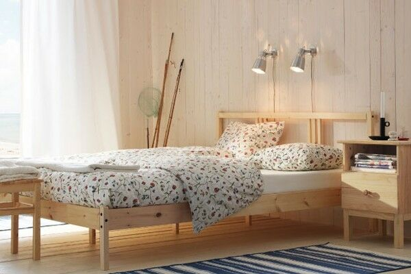Ikea Fjellse Double Bed And Hamarvik Sprung Mattress