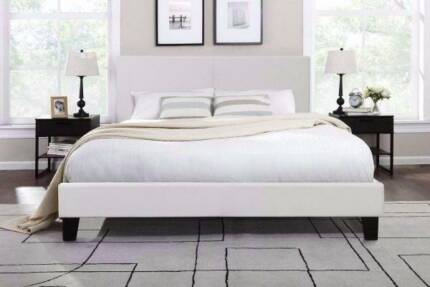 6xbrand new white leather queen size bed frame used mattress , ca