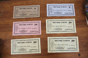 Old Refund Cheques from T. Eaton Co.