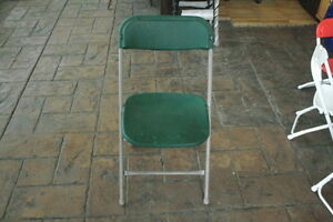 PLASTIC FOLDING CHAIRS - FOREST GREEN, A LOT IN STOCK