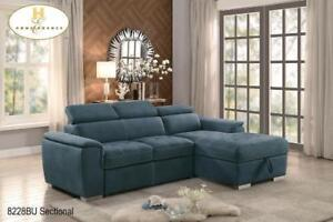 Blue Sectional with Pull-out Bed - Furniture Sale (BD-2412)