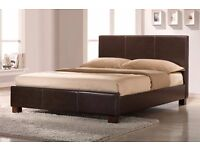 BRAND NEW STYLISH BLACK / BROWN DOUBLE LEATHER BED FRAME AND MATTRESS