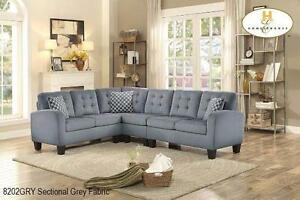 GREY FABRIC SECTIONAL MODEL 8202 04-15 $1,099.00SAVE $300