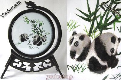 Seidenstickbild, Double-Sided, Rotating, Panda, No: s0105