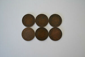 6 Canada LARGE CENTS excellent
