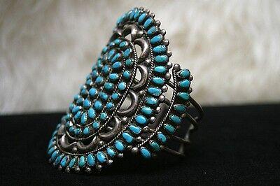 Rare Gem Grade Lone Mountain Turquoise Zuni Cluster Ingot Bracelet