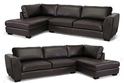 Brown Leather Chaise - NEW DARK BROWN LEATHER MODERN SECTIONAL LEFT OR RIGHT FACING CHAISE SOFA SET