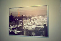 Large Framed IKEA Wall Art Poster Painting of Paris France