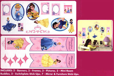 Disney Princess Wall Sticker Decals Party Room Decor Bell Cinderella Snow White