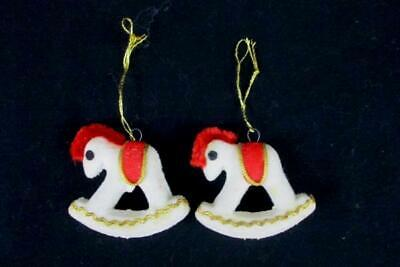 Set of 2 Matching Vintage Felt Rocking Horse Hanging Ornaments