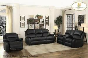 Black Leather Recliner Set - Big Sale event at Kitchen and Couch Store (BD-2487)