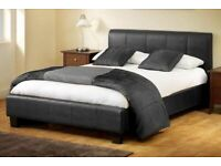 Stylish/Comfortable-Leather Bed Frame in Black, Brown and White Color With Mattress Choices